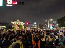 Campaign rally at night in front of the Taiwan Presidential palace